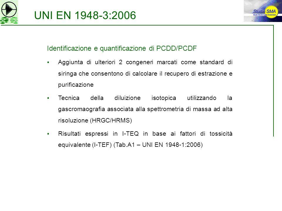UNI EN 1948-3:2006 Identificazione e quantificazione di PCDD/PCDF