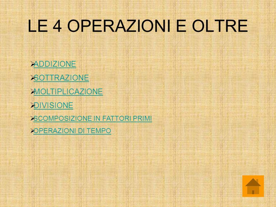 LE 4 OPERAZIONI E OLTRE ADDIZIONE SOTTRAZIONE MOLTIPLICAZIONE