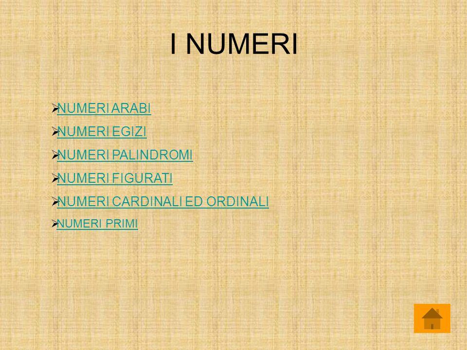 I NUMERI NUMERI ARABI NUMERI EGIZI NUMERI PALINDROMI NUMERI FIGURATI