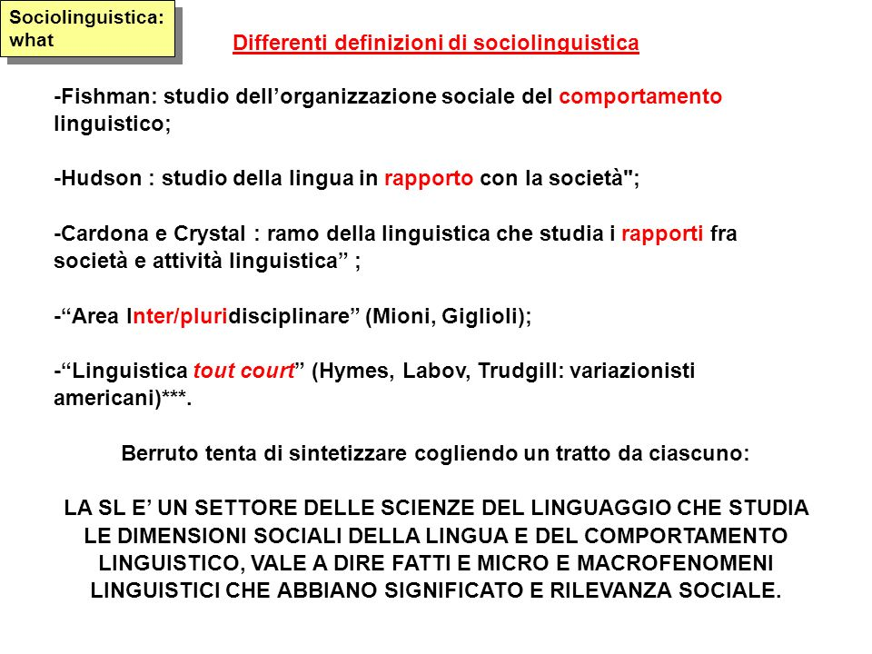 Differenti definizioni di sociolinguistica