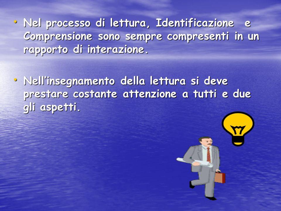 Nel processo di lettura, Identificazione e Comprensione sono sempre compresenti in un rapporto di interazione.