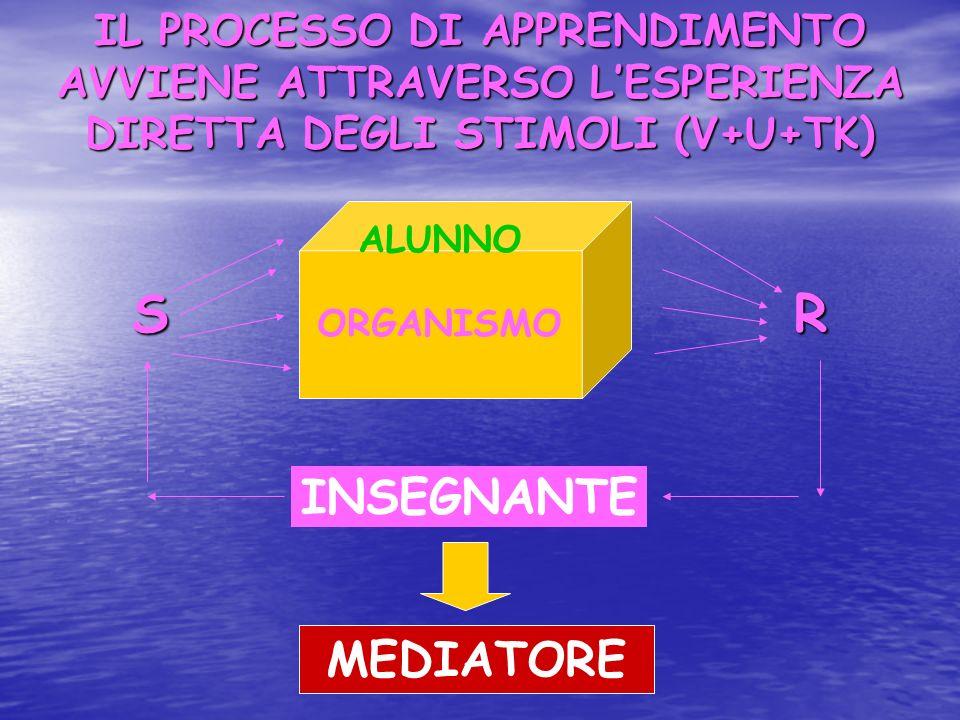 IL PROCESSO DI APPRENDIMENTO AVVIENE ATTRAVERSO L'ESPERIENZA DIRETTA DEGLI STIMOLI (V+U+TK)