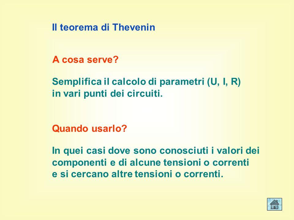 Il teorema di Thevenin A cosa serve Semplifica il calcolo di parametri (U, I, R) in vari punti dei circuiti.