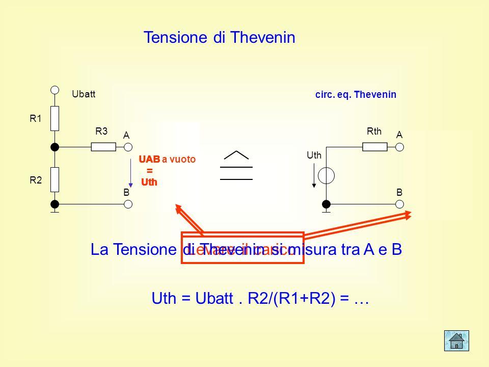 La Tensione di Thevenin si misura tra A e B
