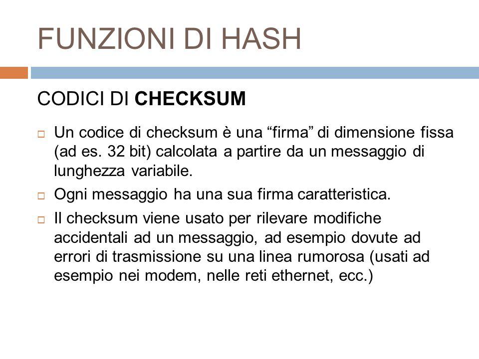 FUNZIONI DI HASH CODICI DI CHECKSUM
