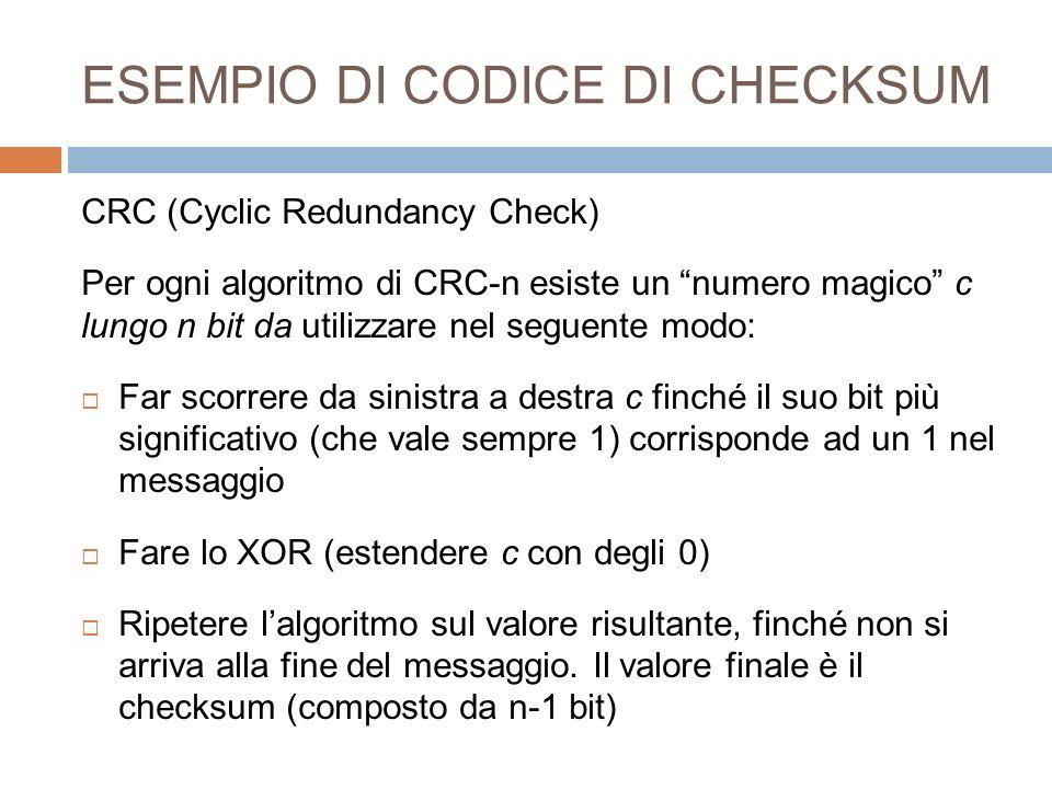 ESEMPIO DI CODICE DI CHECKSUM
