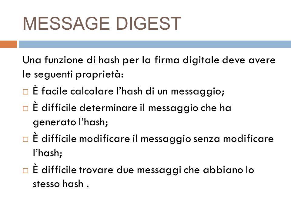 MESSAGE DIGEST Una funzione di hash per la firma digitale deve avere le seguenti proprietà: È facile calcolare l'hash di un messaggio;