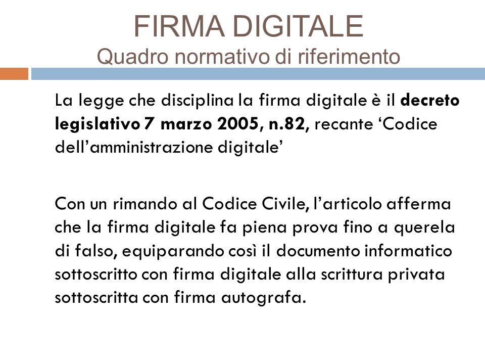 FIRMA DIGITALE Quadro normativo di riferimento