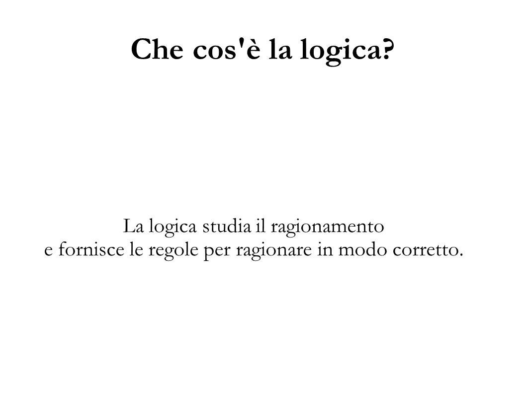 Che cos è la logica La logica studia il ragionamento