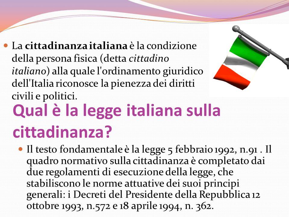 Qual è la legge italiana sulla cittadinanza