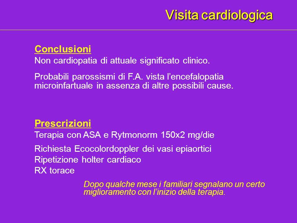 Visita cardiologica Conclusioni Prescrizioni