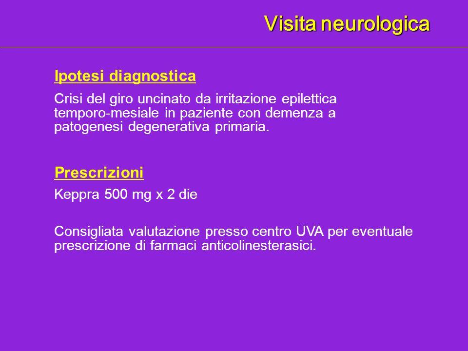 Visita neurologica Ipotesi diagnostica Prescrizioni