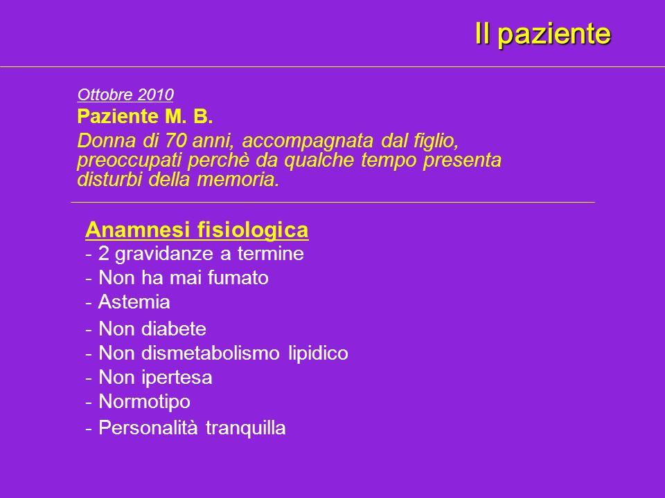 Il paziente Anamnesi fisiologica Paziente M. B.