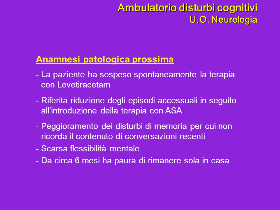 Ambulatorio disturbi cognitivi