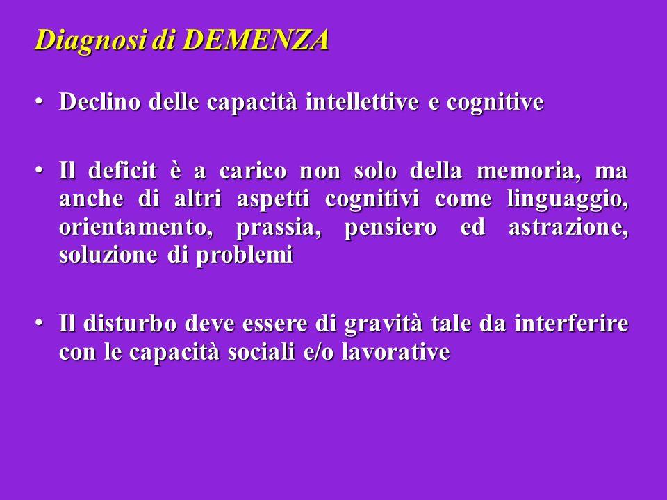 Diagnosi di DEMENZA Declino delle capacità intellettive e cognitive
