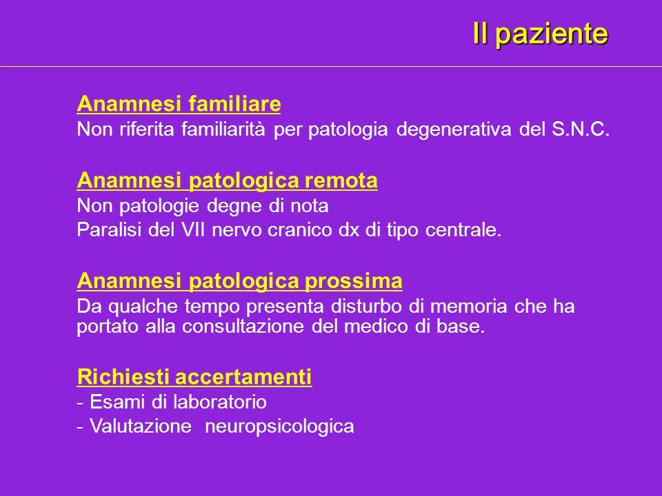 Il paziente Anamnesi familiare Anamnesi patologica remota