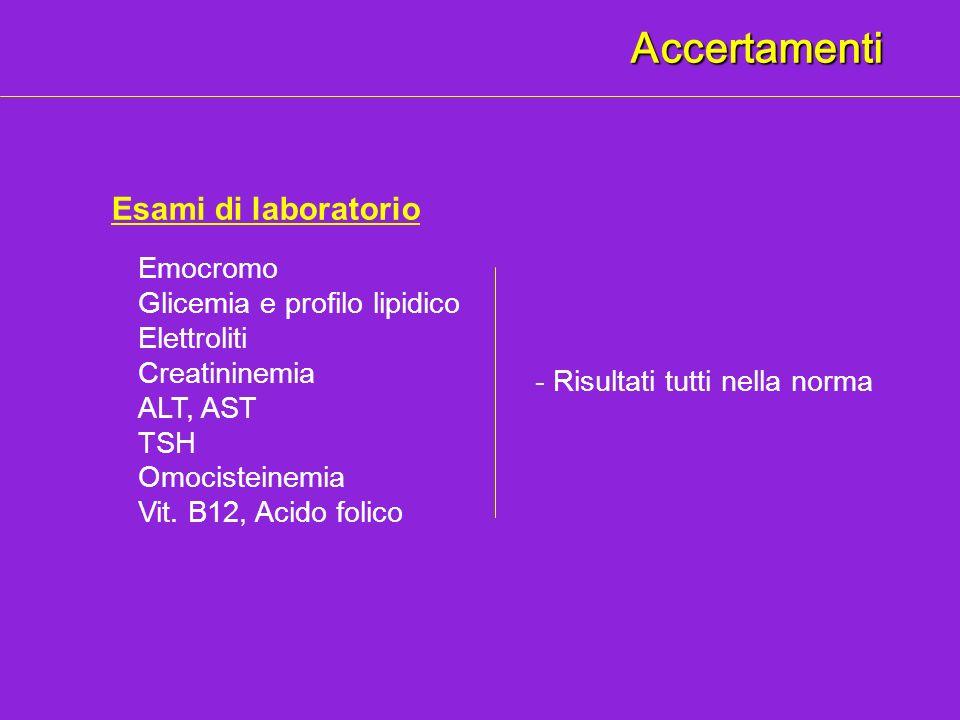 Accertamenti Esami di laboratorio Emocromo Glicemia e profilo lipidico