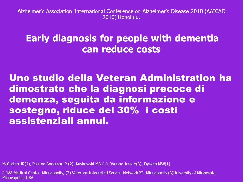 Early diagnosis for people with dementia