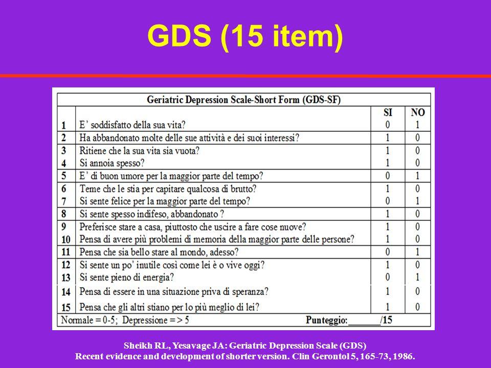 Sheikh RL, Yesavage JA: Geriatric Depression Scale (GDS)