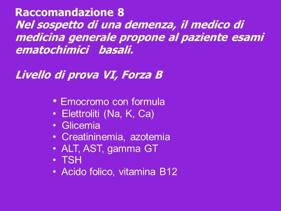 • Emocromo con formula Raccomandazione 8