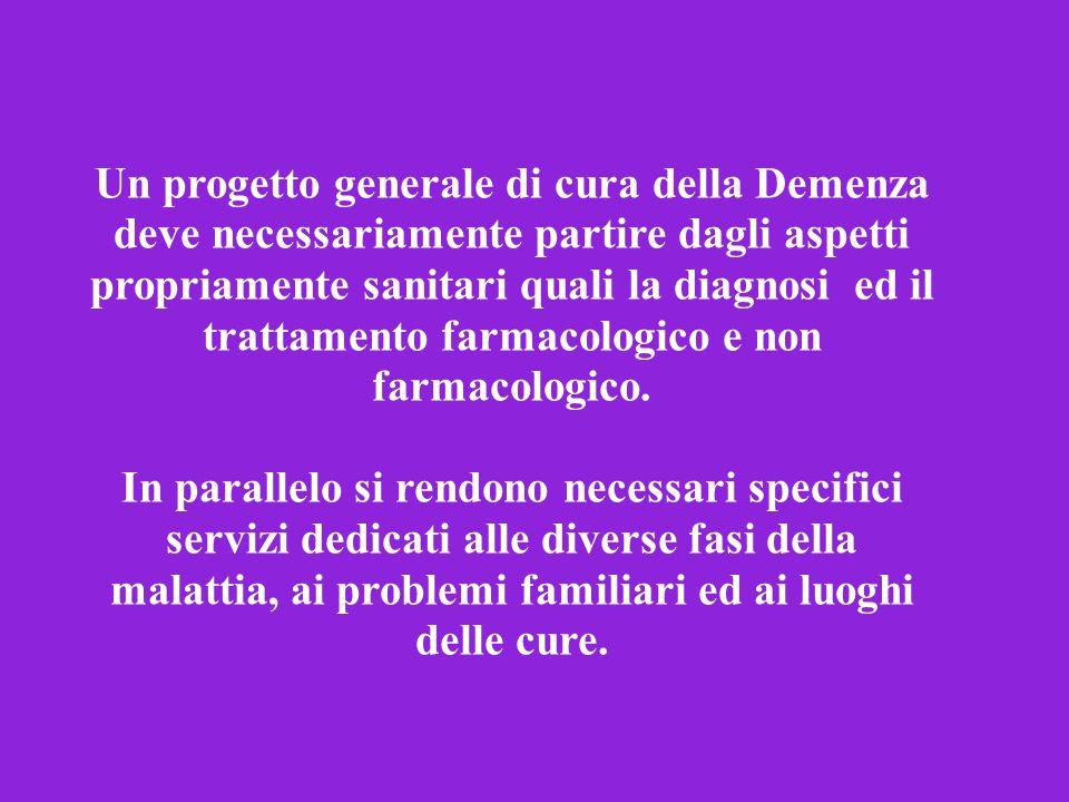 Un progetto generale di cura della Demenza deve necessariamente partire dagli aspetti propriamente sanitari quali la diagnosi ed il trattamento farmacologico e non farmacologico.