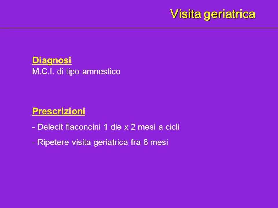 Visita geriatrica Diagnosi Prescrizioni M.C.I. di tipo amnestico