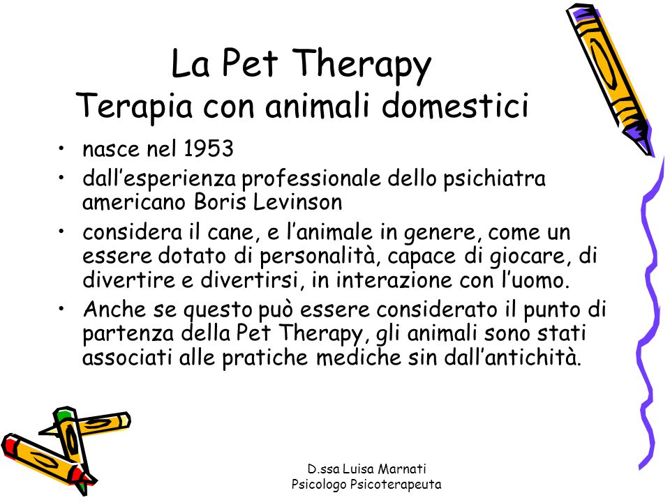La Pet Therapy Terapia con animali domestici