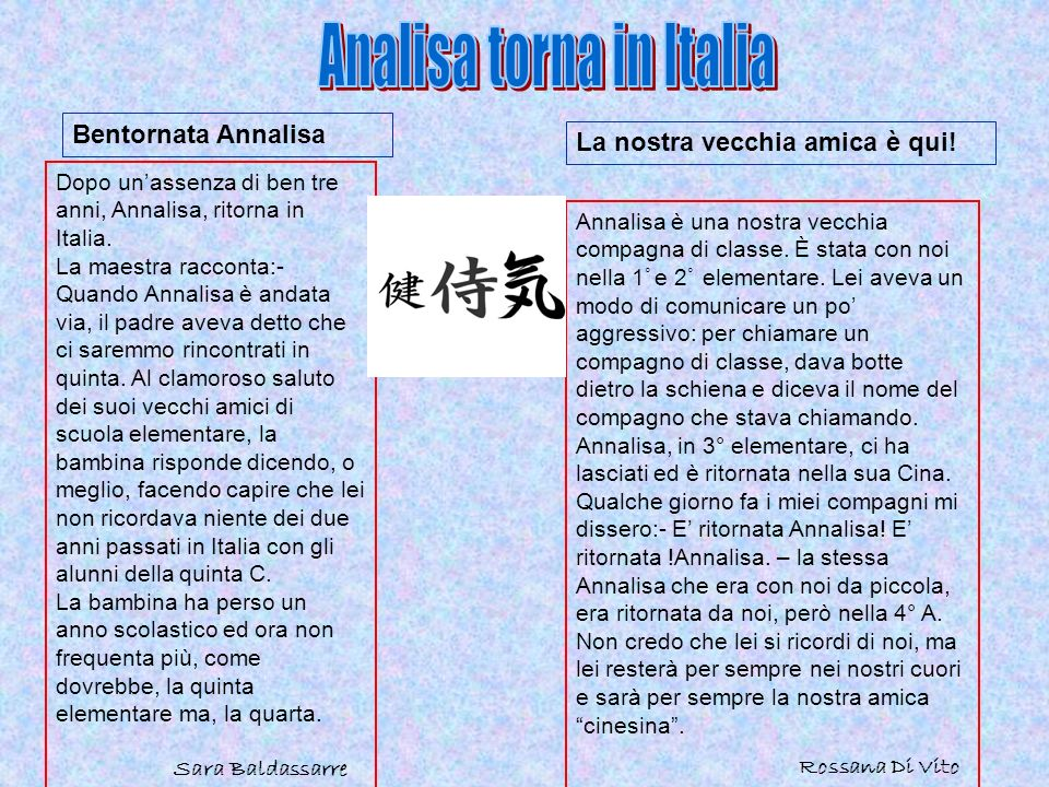 Analisa torna in Italia