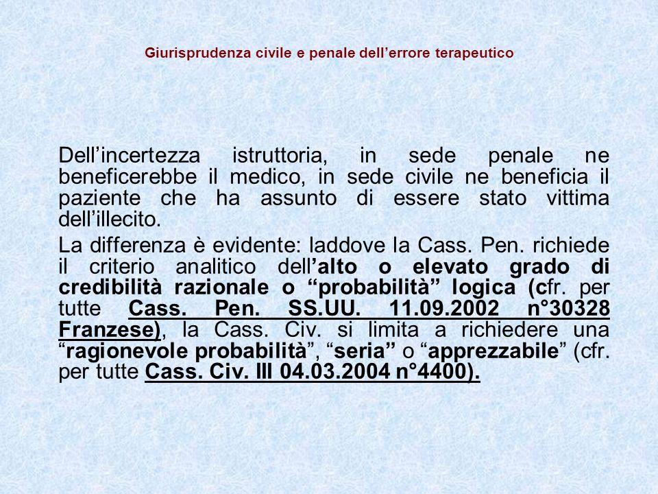 Giurisprudenza civile e penale dell'errore terapeutico