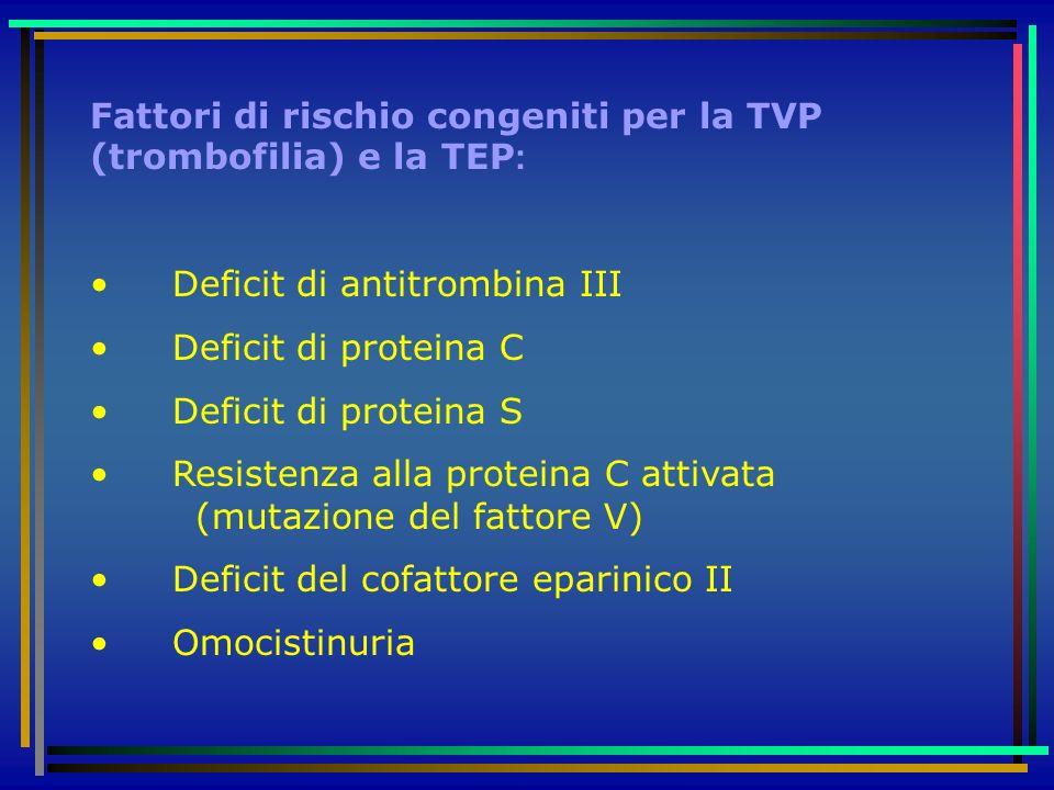 Fattori di rischio congeniti per la TVP (trombofilia) e la TEP: