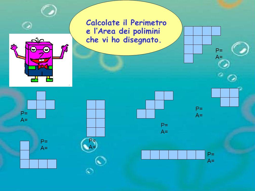 Calcolate il Perimetro e l'Area dei polimini che vi ho disegnato.