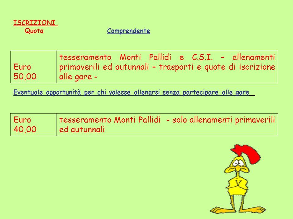 tesseramento Monti Pallidi - solo allenamenti primaverili ed autunnali