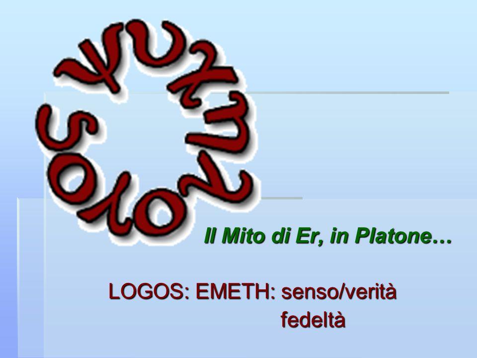Il Mito di Er, in Platone… LOGOS: EMETH: senso/verità fedeltà
