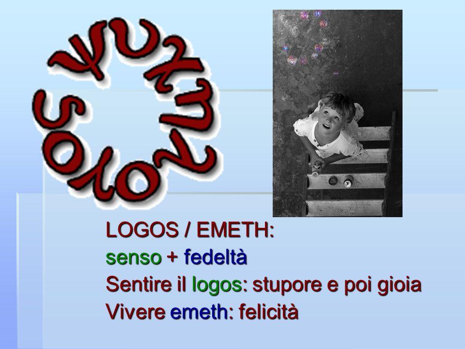 LOGOS / EMETH: senso + fedeltà Sentire il logos: stupore e poi gioia Vivere emeth: felicità