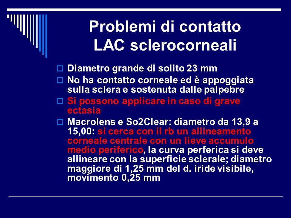 Problemi di contatto LAC sclerocorneali