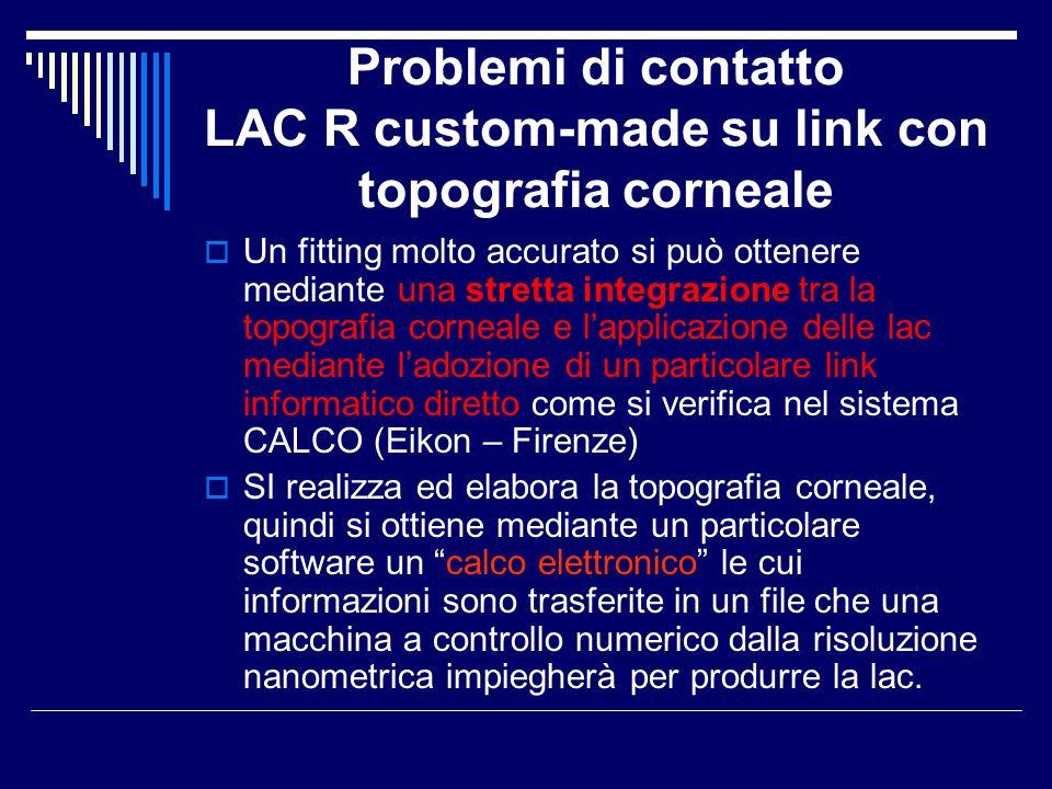 Problemi di contatto LAC R custom-made su link con topografia corneale