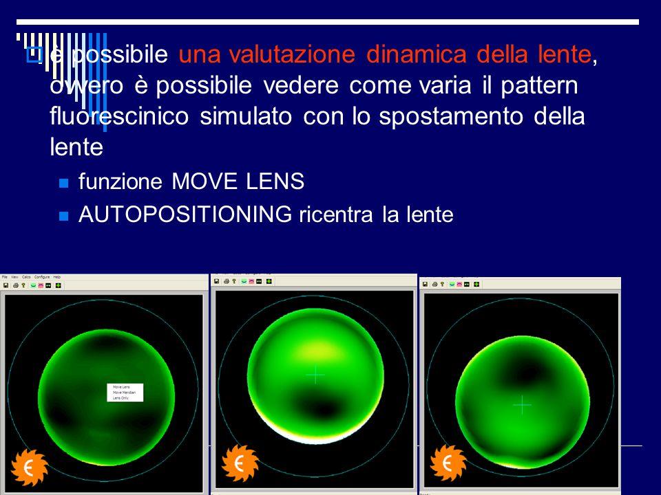 è possibile una valutazione dinamica della lente, ovvero è possibile vedere come varia il pattern fluorescinico simulato con lo spostamento della lente