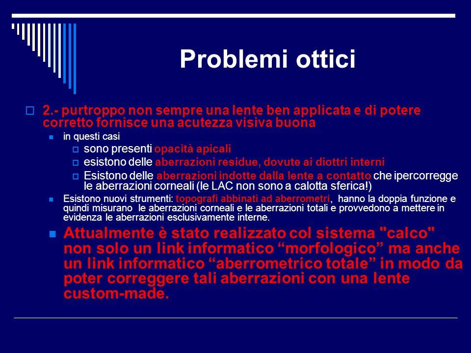 Problemi ottici 2.- purtroppo non sempre una lente ben applicata e di potere corretto fornisce una acutezza visiva buona.
