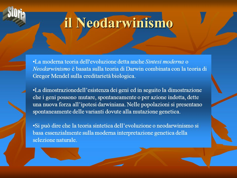 il Neodarwinismo storia