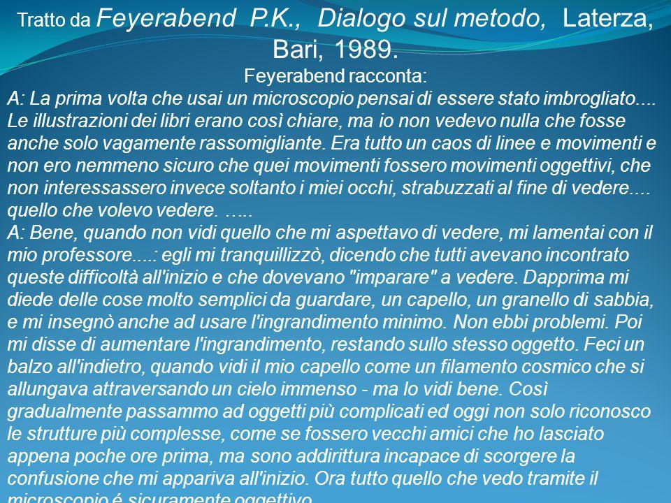 Tratto da Feyerabend P.K., Dialogo sul metodo, Laterza, Bari, 1989.