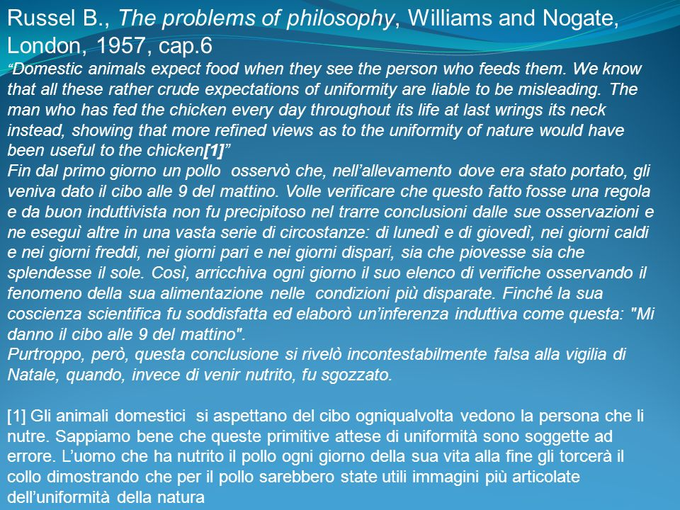 Russel B., The problems of philosophy, Williams and Nogate, London, 1957, cap.6