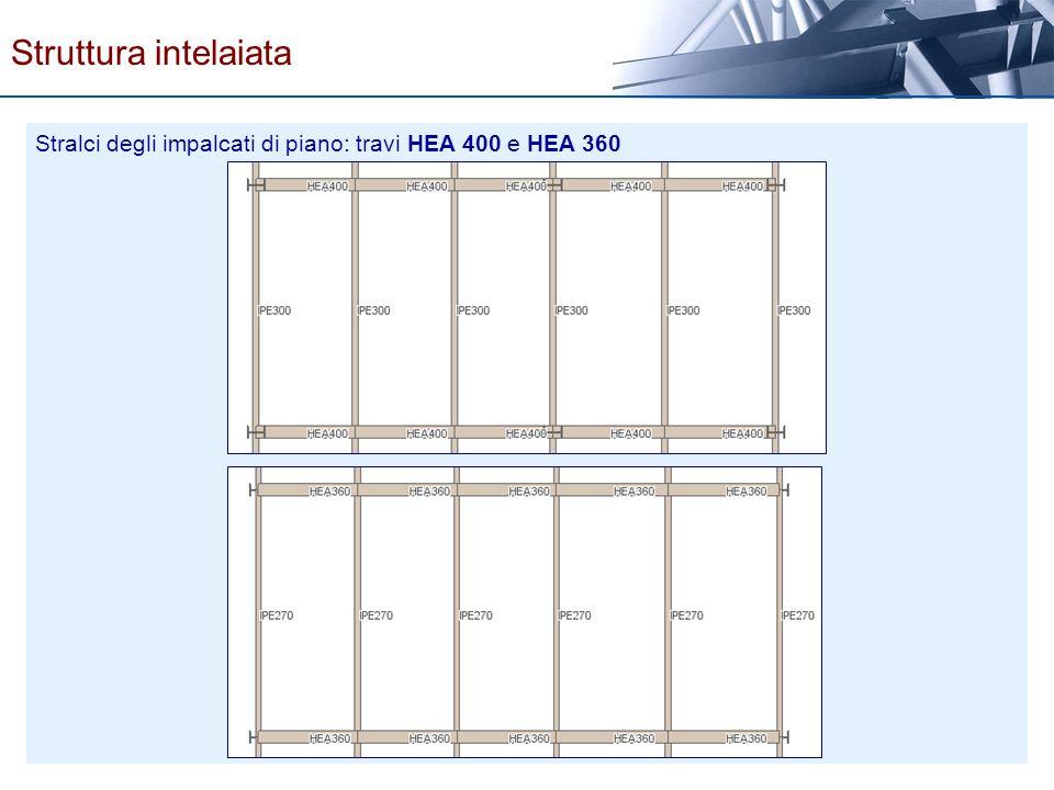 Struttura intelaiata Stralci degli impalcati di piano: travi HEA 400 e HEA 360