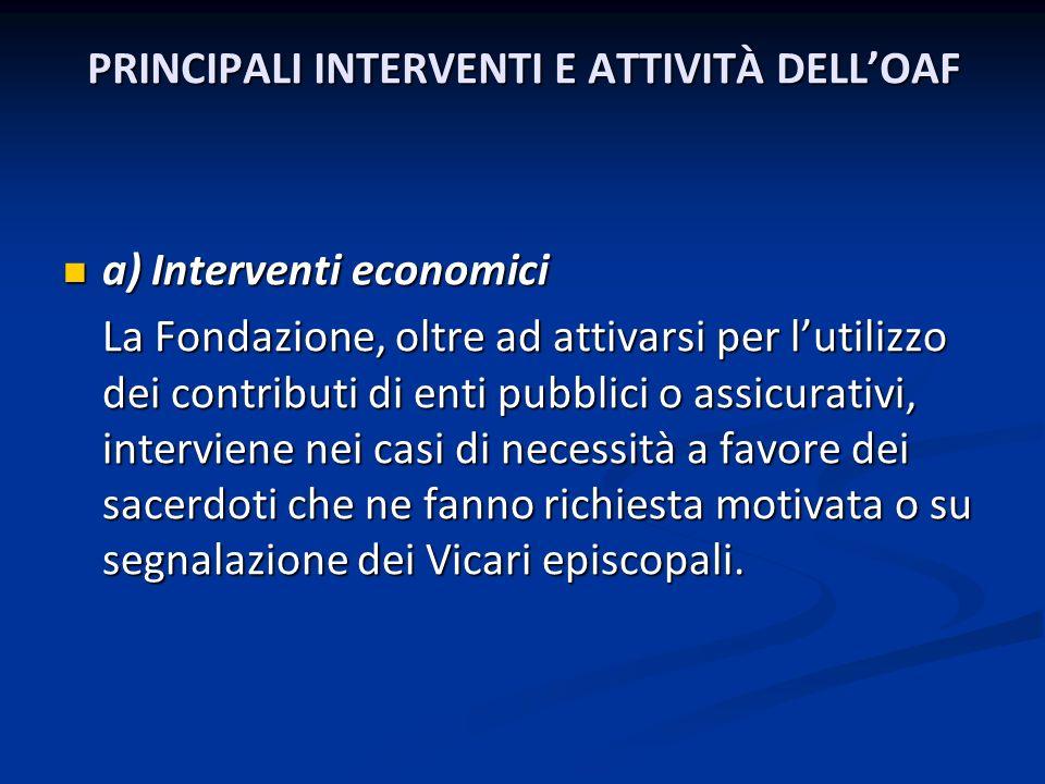 PRINCIPALI INTERVENTI E ATTIVITÀ DELL'OAF