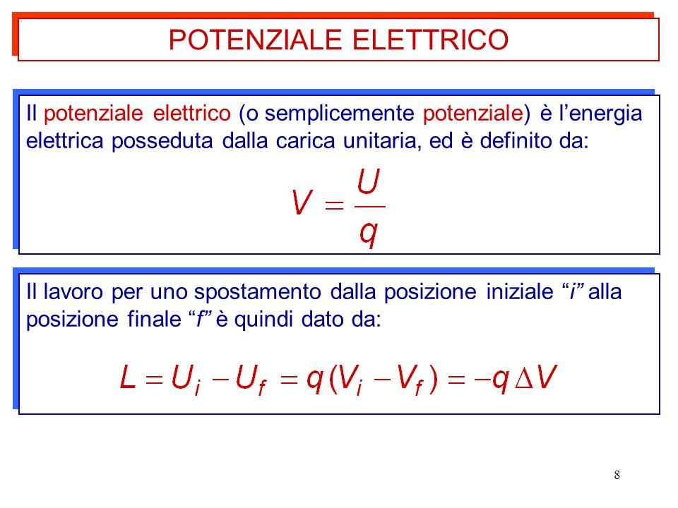 POTENZIALE ELETTRICO Il potenziale elettrico (o semplicemente potenziale) è l'energia elettrica posseduta dalla carica unitaria, ed è definito da: