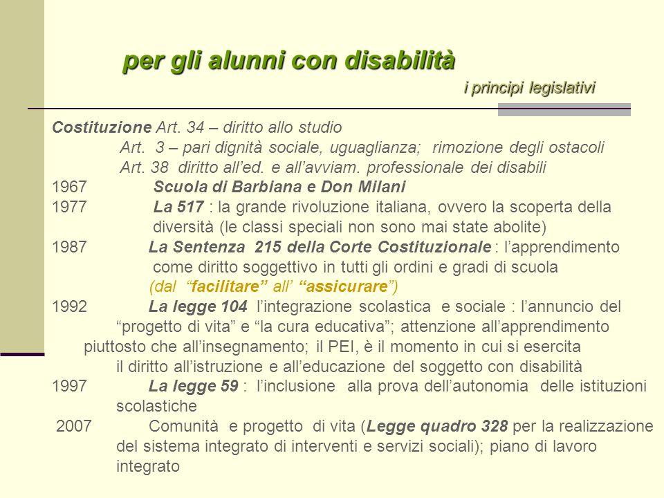 per gli alunni con disabilità