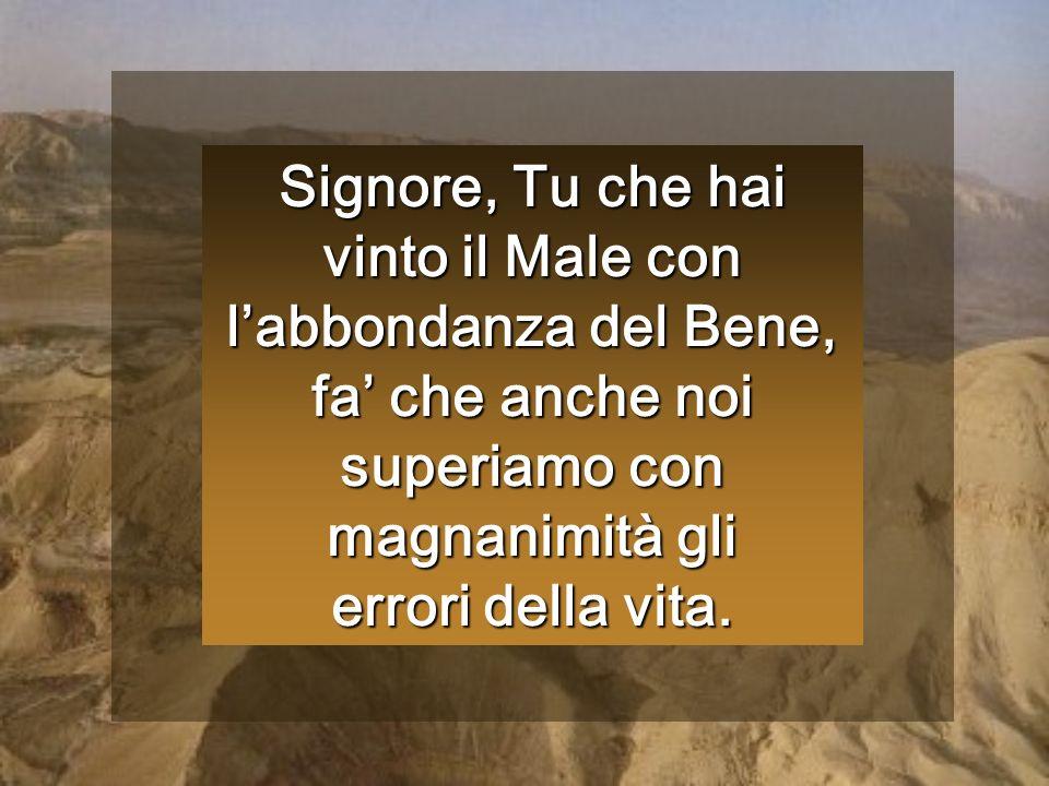 Signore, Tu che hai vinto il Male con l'abbondanza del Bene, fa' che anche noi superiamo con magnanimità gli errori della vita.