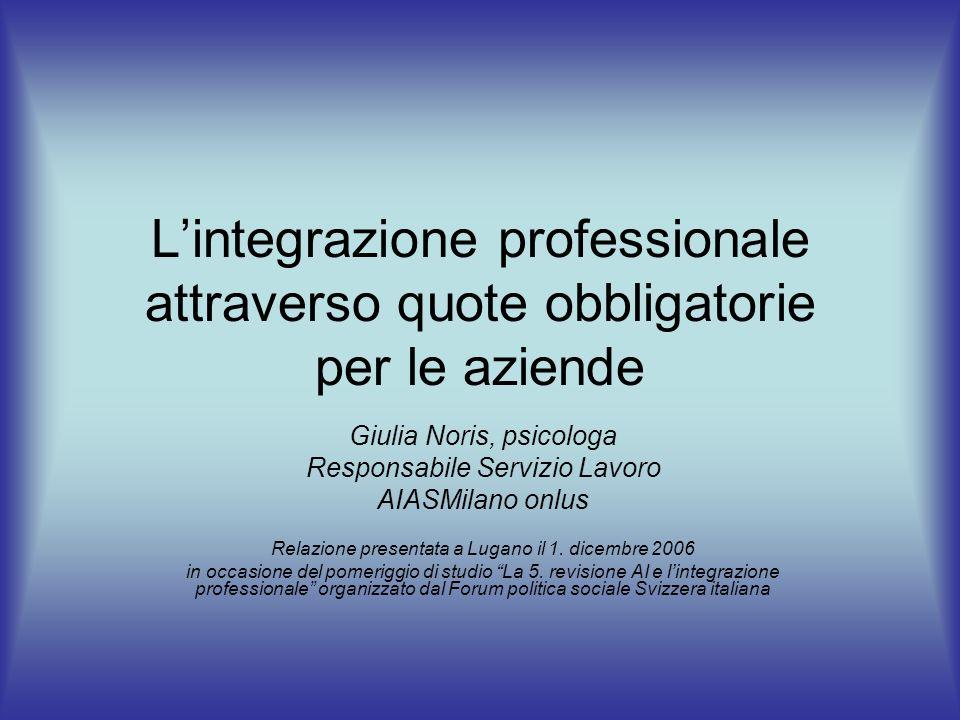 L'integrazione professionale attraverso quote obbligatorie per le aziende