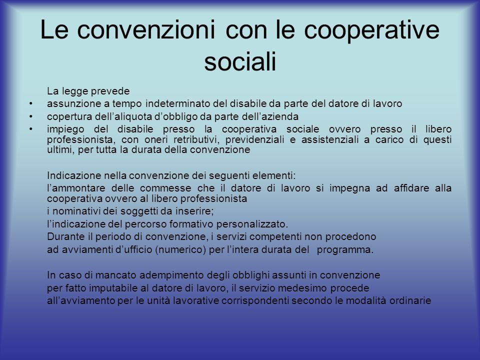 Le convenzioni con le cooperative sociali