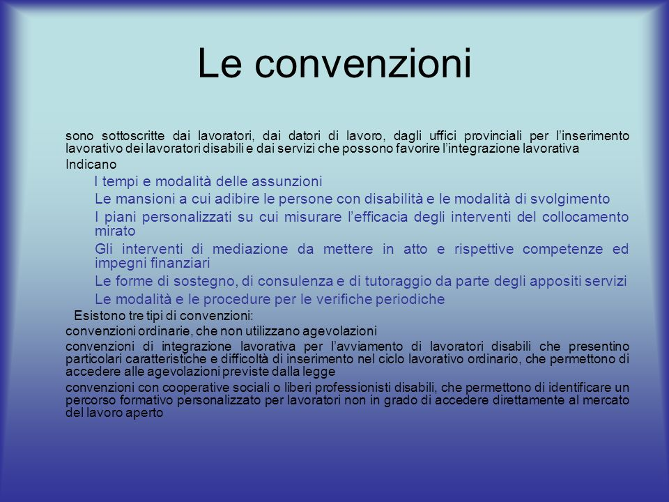Le convenzioni