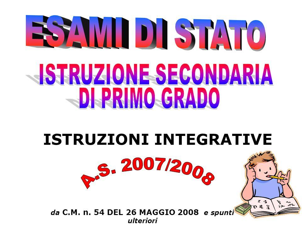 da C.M. n. 54 DEL 26 MAGGIO 2008 e spunti ulteriori